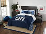 The Northwest Company Officially Licensed MLB Tampa Bay Rays Grandslam Full/Queen Size Two Sham Set, Navy Blue