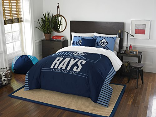 Tampa Set Rays Bay - The Northwest Company Officially Licensed MLB Tampa Bay Rays Grandslam Full/Queen Size Two Sham Set, Navy Blue