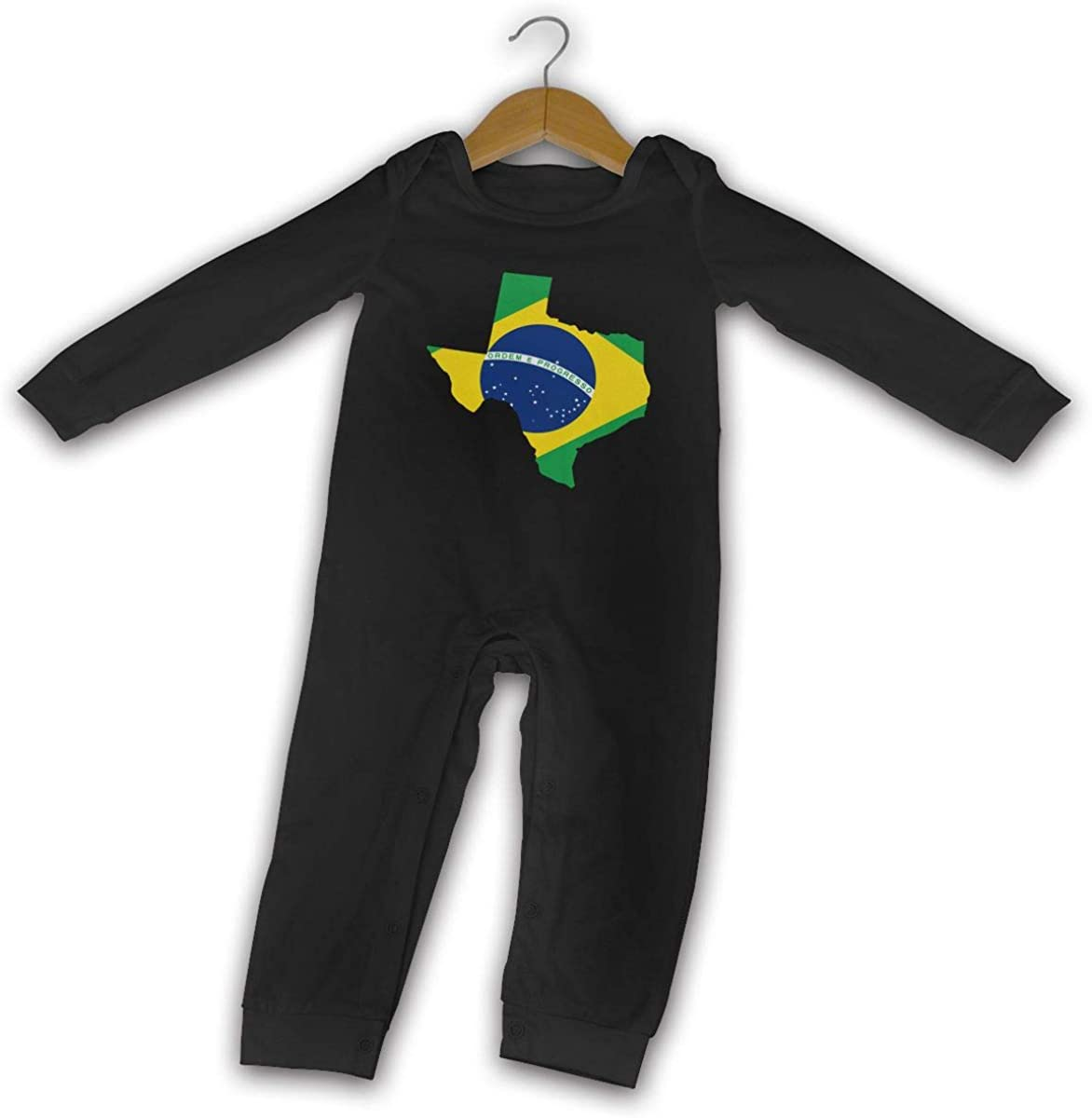 YELTY6F Brazil Flag of Texas Map Printed Newborn Baby One-Piece Suit Long Sleeve Outfits Black