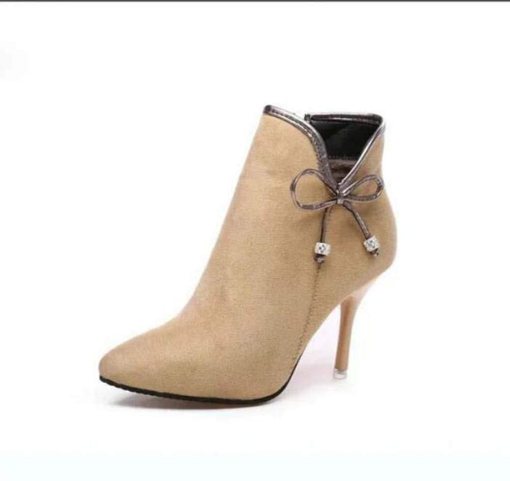 8.5cm Stiletto Pump Ankle Stiefelie Martin Stiefel Frauen Süßes gepochten Toe Bowknot Party Dress Schuhe OL Hofschuhe Eu Größe 34-39