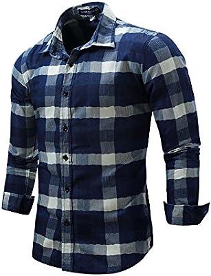Mena UK Ocio Hombre Camisa Vaquera Impresión Camisa A Cuadros Camisa Abotonada (Color : Azul Oscuro, Tamaño : XXXL): Amazon.es: Deportes y aire libre
