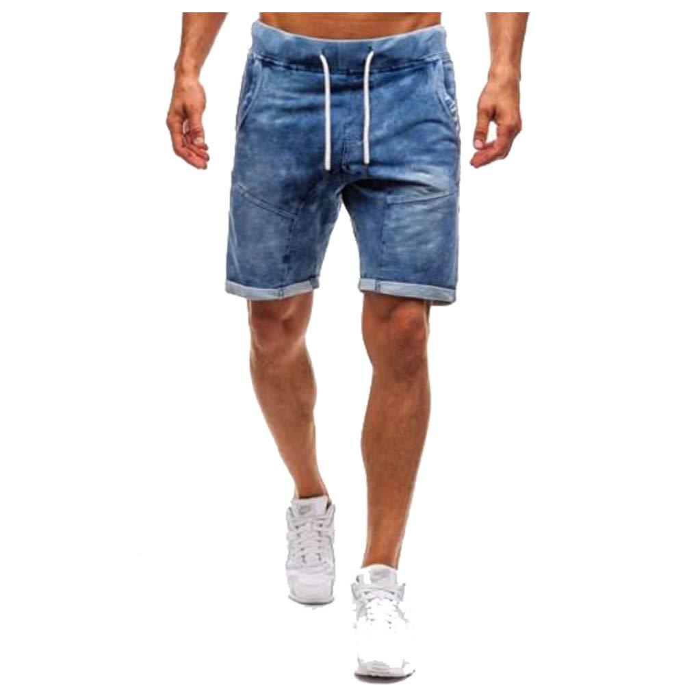 Shunht Mens Casual Denim Shorts Classic Straight Fit Ripped Jeans Biker Shorts