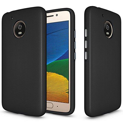 Moto E4 Case, OEAGO Motorola Moto E4 (4th Generation) Case - Anti Skid Non-Slip Neo Hybrid Plastic Silicone Rubber Defend Rugged Case Cover for Moto E4 / Moto E 4th Gen (2017 Release) - Black