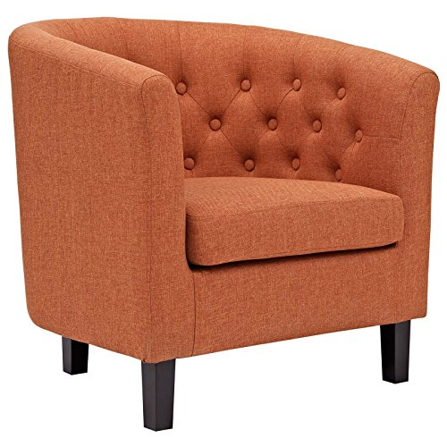Asian Living Room Chair - Modway Prospect Upholstered Fabric Contemporary Modern Accent Arm Chair in Orange
