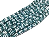 Teal white banded cylinder Recycled Krobo Glass Beads - Strand of Eco-Friendly Fair Trade Beads from Ghana