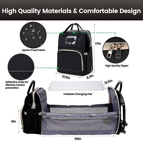 3 in 1 Diaper Bag with USB Charging Port Waterproof Backpack Travel Bassinet with Shading Cloth Baby Changing Station Portable Crib (Black)