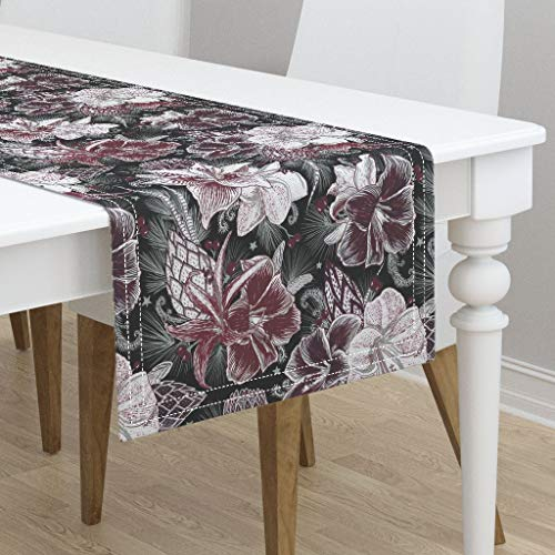 Table Runner - Floral Botanical Holiday Seasonal Garden Winter by Helenpdesigns - Cotton Sateen Table Runner 16 x 90