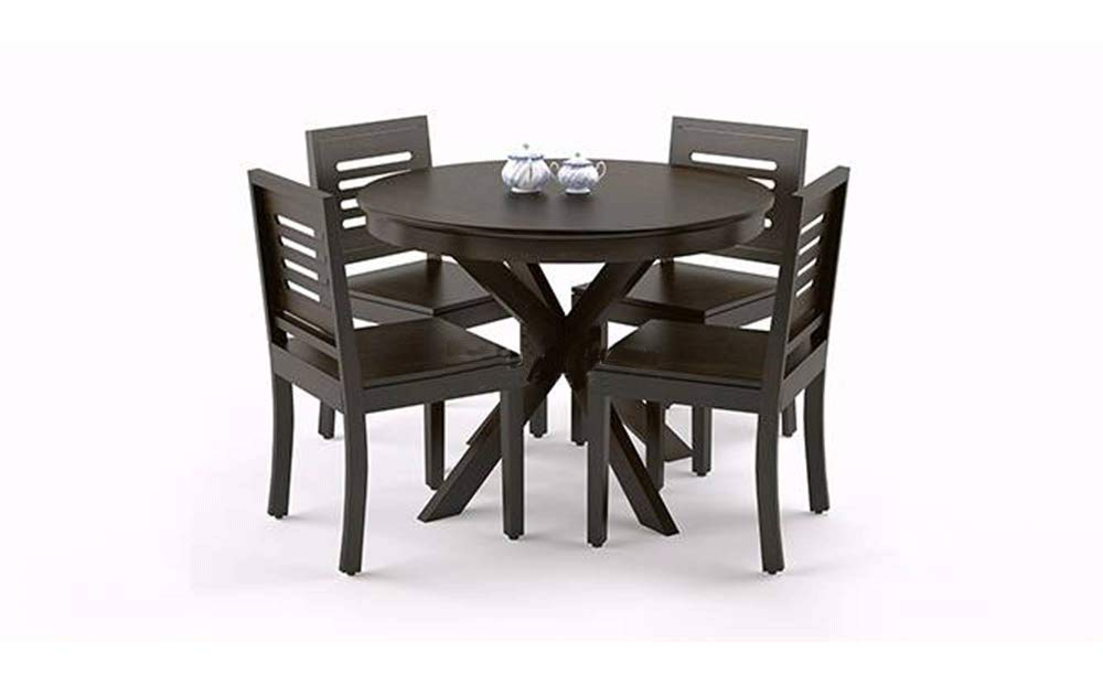Woodstage Sheesham Wood 4 Seater Round Dining Table Set For