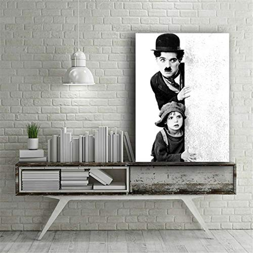 NATVVA Wall Art Decor Poster Painting On Canvas Print Pictures Black and White Classic Chaplin Movie Poster with Black Wooden Framed Picture for Home Decoration Living Room Artwork