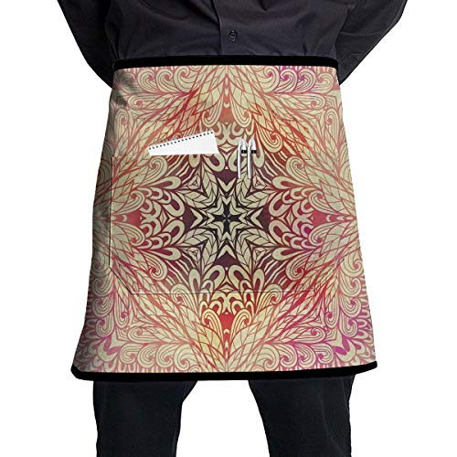 - Doodle Style Flowers Swirls Ivy in Square Shape Image Pocket Apron Penholder Semi-Waterproof Apron Used for Servers Cooking,Barbecue Cooking Work,Barbecue Baking Gardening