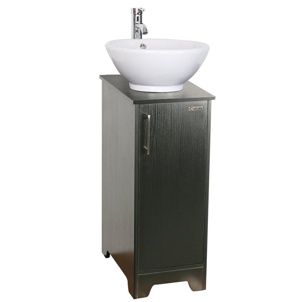 13 Inch Modern Bathroom Vanity Units Cabinet And 16 Inch Sink Stand Pedestal With Square White Ceramic Vessel Sink With Chrome Bathroom Solid Brass Faucet And Pop Up Drain Combo Bathroom Fixtures