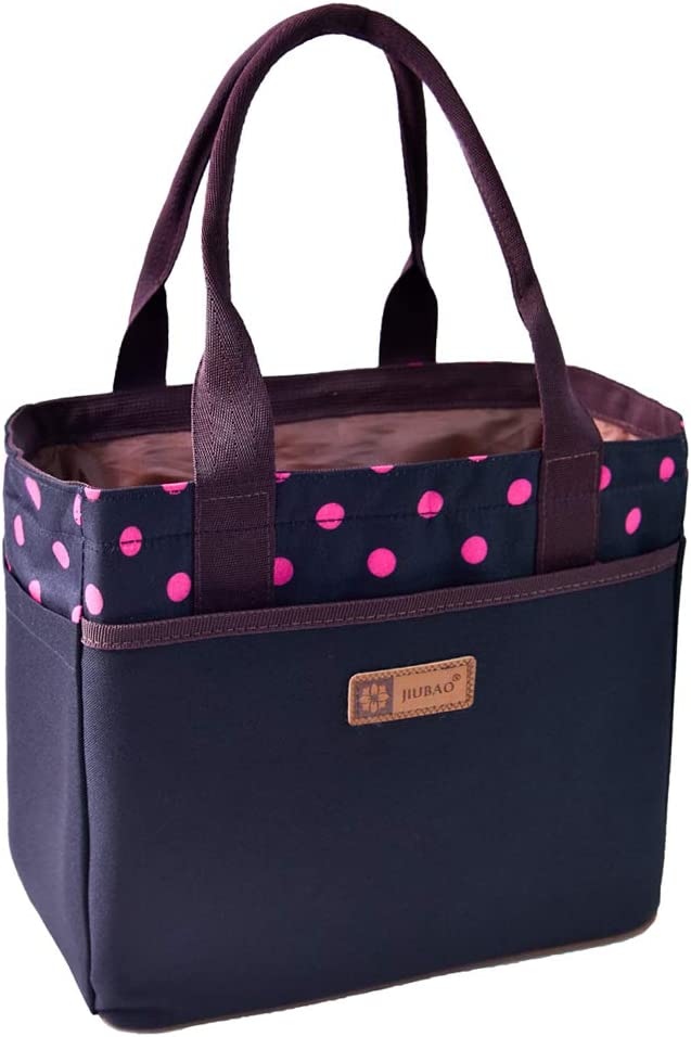 Large Tote Lunch Bag for Women Adults Ladies Insulated Cooler Bag with 4 Sides Pocket Drawstring Closure for Office Picnic Travel