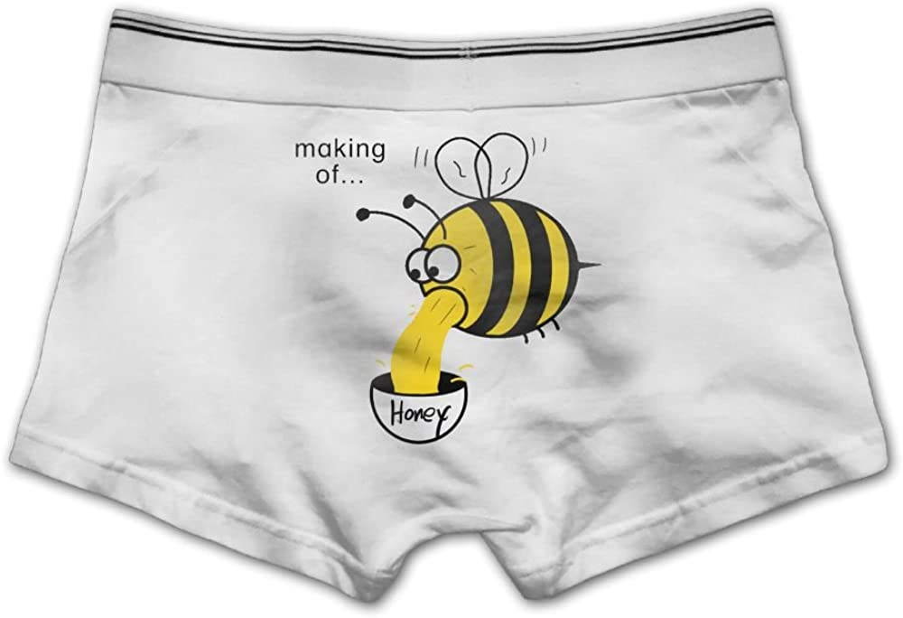 Ghhpws Mens Making of Bee Underwear Cotton Boxer Briefs Stretch Low Rise Trunks White