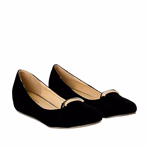 1282e4ebc2ac Joker   Witch Elegant Black velvet Wedges for Women and Girls ...