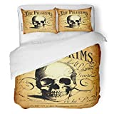 SanChic Duvet Cover Set Vintage Steampunk Halloween Death Flower Skeleton Calligraphy Decorative Bedding Set with Pillow Sham Twin Size
