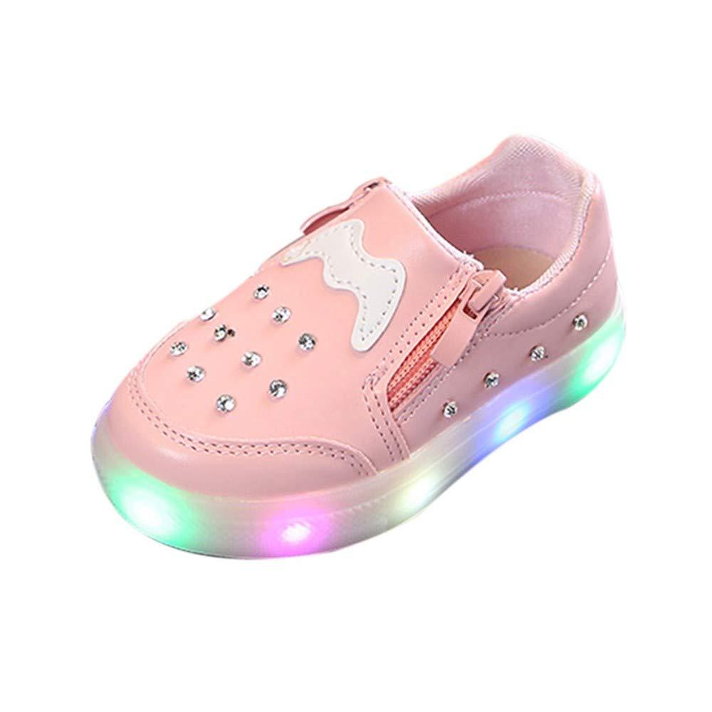 cinnamou Mode Herbst Und Winter Kinder M/ädchen Jungen Warme Strass LED Blinkende Weichen Sportschuhe Turnschuhe Beleuchtung Schuhe Kurze Stiefel