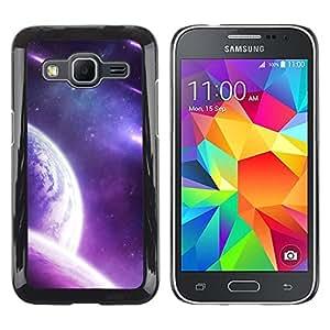 Purple Galaxy Planet - Metal de aluminio y de plástico duro Caja del teléfono - Negro - Samsung Galaxy Core Prime
