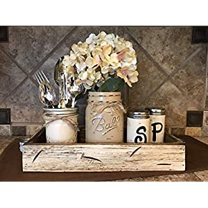 Ball Mason Jar KITCHEN Table Centerpiece SET in Antique Rustic Tray ~Salt and Pepper Shakers, Pint Vase Jar with FLOWER~Distressed Painted Jars, Accessory Holder, Green Brown Cream White Tan Blue 25