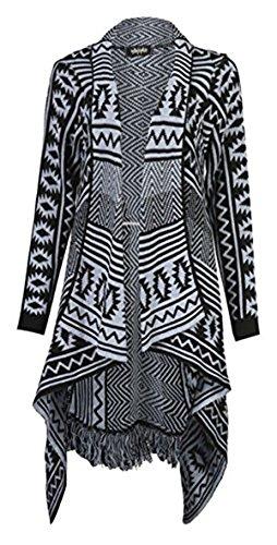 Imprimir Ladies Aztec cascada rayas Diamond cardigan Trendz tricotado Grey Frill Friendz qTUIfwc