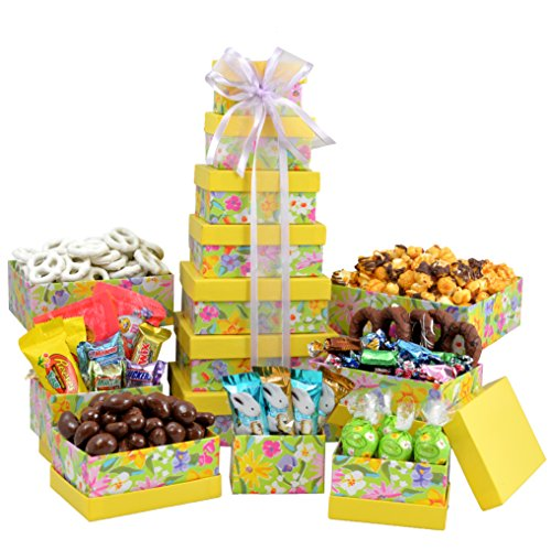 Broadway Basketeers Easter Gift Basket Gourmet Chocolate Easter Treasures Gift Basket Tower (Gourmet Gift Tower)