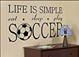 World Cup Life Is Simple Eat Skeep Play Soccer Wall Decal Sticker Living Room Stickers High 45cm Wide 57cm Black Color
