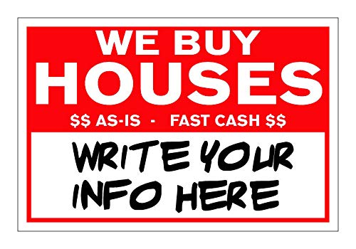 100 RED We Buy Houses Bandit Yard Signs Write Your Own Information