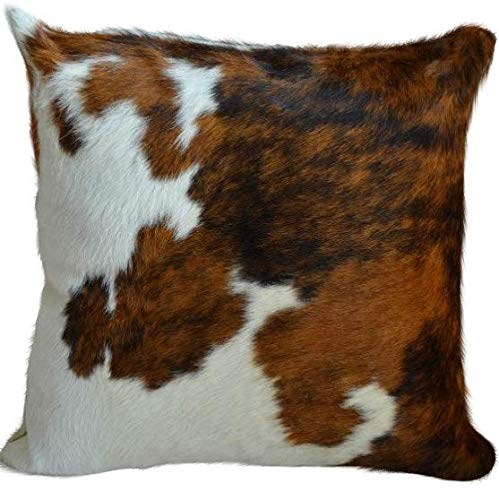 ecowhides Cowhide Pillow Case, 15 x 15 Tricolor Genuine Leather Cowskin Throw Pillow Cover, Tricolor (One Sided, Case Only)
