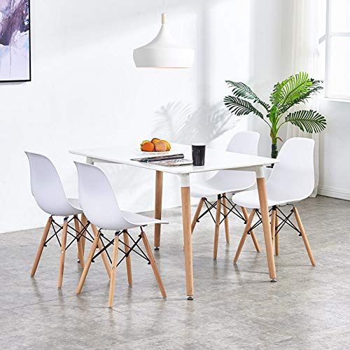 Homy Grigio Dining Chairs DSW Chairs Modern Style Chairs Plastic Chairs Wood Legs, Set of 4 (White)