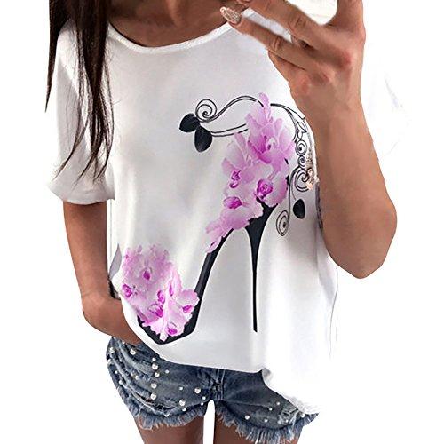 Heel Lace Top - Ankola Women's Fashion High Heel Printed Short Sleeve Casual T Shirt Tops Blouse Clearance (Purple, XXXL)