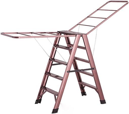 YSNBM - Tendedero Plegable de Aluminio para Colgar Ropa, Escalera de 5 peldaños/Escalera de 6 escalones/Ahorra Espacio para Colgar Ropa, Interior, balcón, Toalla: Amazon.es: Hogar