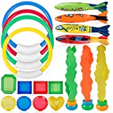 Coogam Diving Toy 19PCS Set 4 Dive Ring,4 Throw Torpedo Bandit,3 Stringy Octopu,8 Jewel Gem for Pool Sinking Swimming Game Underwater Training Play Water Gift for Kid Child Boy Girl