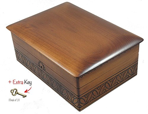 Extra Large Wooden Box w/ Functional Lock and Key Polish Handmade Decorative Box