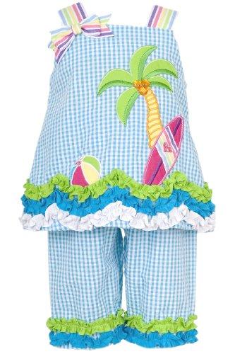 Baby Girls 3M-24M Palm Tree Beach Scene Seercker Top/Capri Set (6/9M, Turquoise)