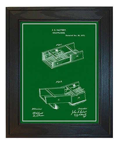 Gold Washer Patent Art Green Print with a Border in a Solid