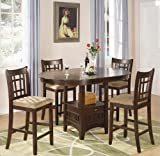crate and barrel stool cushions 5pc Counter Height Dining Table and Stools Set in Dark Cherry Finish