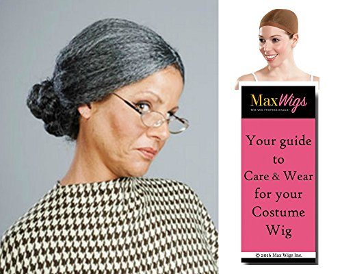 Bundle 3 items: Old Lady Psycho Mom Pulled Back Bun Spinster Women's Enigma Wigs - Color White, Wig Cap, MaxWigs Costume Wig Care (Spinster Costume)