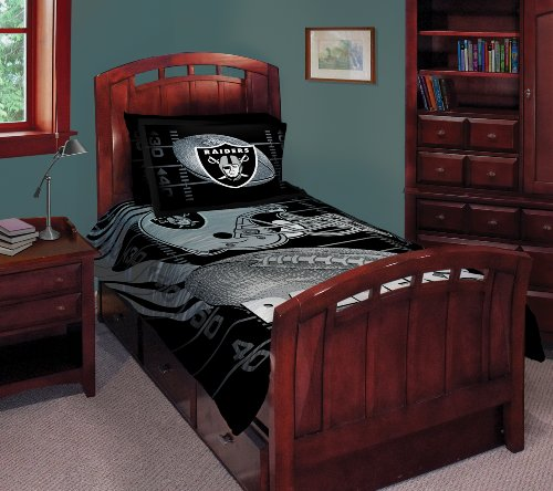 NFL Oakland Raiders Twin/Full Comforter with Two Pillow Shams Raiders Bed Comforter