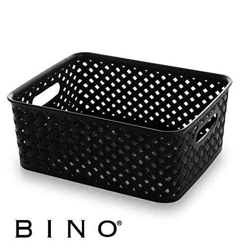 BINO Woven Plastic Storage Basket, Medium (Black)