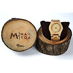 Wooden Watch for Men and Women - Moyo Canadian Maple Wood Grain - Wrist Watches with Case - Matoa by WÜD