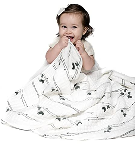 Muslin Blanket for Baby & Toddler - Four Layers of 100% Certified Organic Cotton - Lucky Birds (Rugged Bear Plush)
