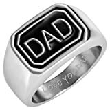 Mens DAD Stainless Steel Ring Engraved Love You Dad In Gift Pouch By Willis Judd - Size 11.5