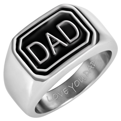 Willis Judd Mens DAD Stainless Steel Ring Engraved Love You Dad In Gift Pouch Size 13