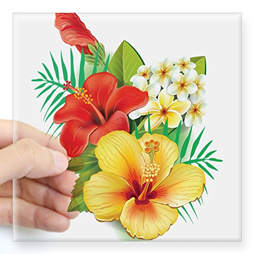 CafePress Tropical Hibiscus Sticker Square