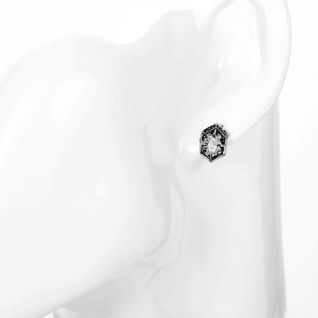 MoAndy Womens Stainless Steel Stud Earrings Retro Punk Cubic Zirconia Women Earrings