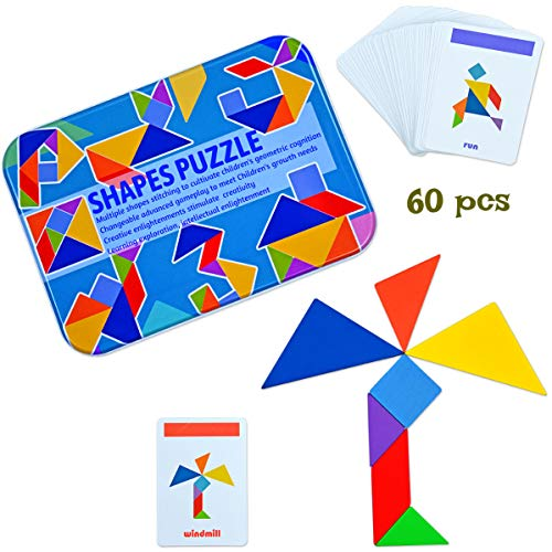 Kids Wooden Tangram Puzzle Game 120 Patterns Portable Size in Colourful Box - Brain Teaser for Kids and Adults Suitable for Montessori Learning