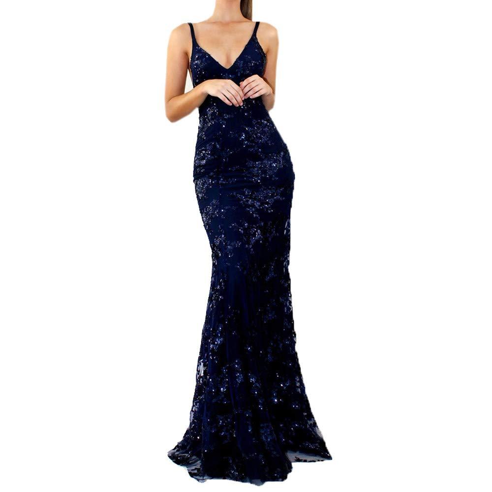 Sannysis Damen Maxikleid Langes Elegantes Kleid V-Ausschnitt Spitzen Spleiß Paillettenkleid Bodenlänge Braut Brautjungfer Partykleid