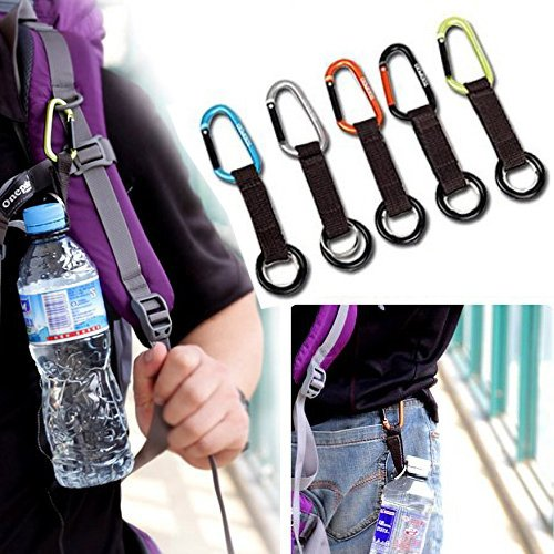 CellCase Portable Water Bottle Drink Buckle Hook Holder Clip Key Chain Ring Carabiner for Camping Hiking Traveling (5pcs Random Color)