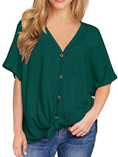 Chuhee Women's S-3XL Short Sleeve Button Down Blouse Shirt Tie Knot Thermal Tops H-Green M from Chuhee