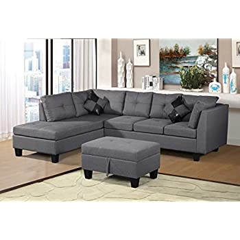 Merax Sofa 3 Piece Sectional Sofa With Chaise Lounge/Storage Ottoman/7 Back