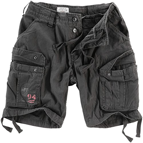 Surplus Men's Airborne Vintage Shorts Washed Black Size 6XL